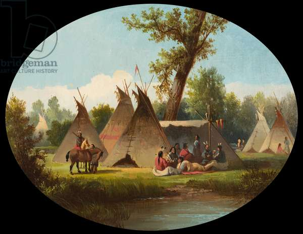 Assiniboin Encampment on the Upper Missouri, c.1870 (oil on canvas)