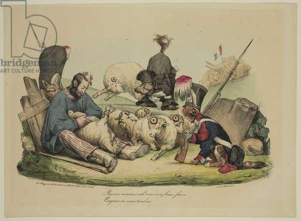 Pauvres moutons Ah! Vous avez beau faire...toujours on vous tondra, 1830 (hand-coloured litho)