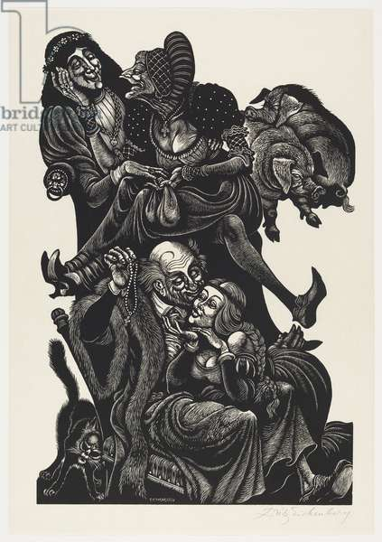 The Follies of Old Age, 1972 (wood engraving printed in black ink on japanese mulberry paper)