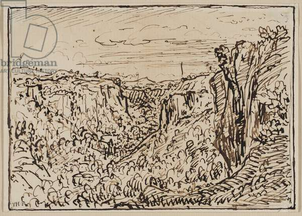 Hilly Landscape (The Lizon River Gorge), c. 1861–63 (ink on paper)