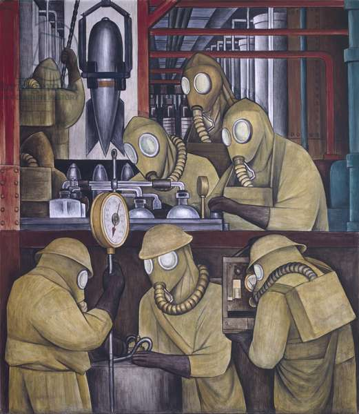 Manufacture of Poisonous Gas Bombs, detail of the North Wall Fresco, 1932-33 (fresco)