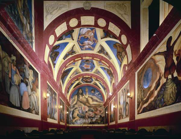 View of the chapel with the cycle 'Song to the Earth and to Those who Till it and Liberate it', 1926-27 (fresco)