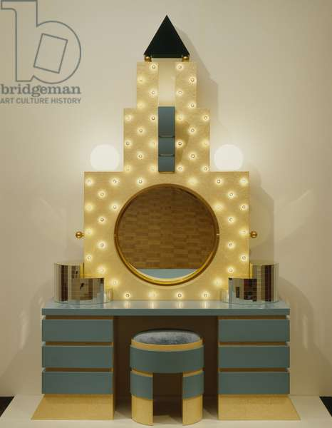 Plaza dressing table, 1981 (briar, lacquered beechwood, mirror, glass & brass)