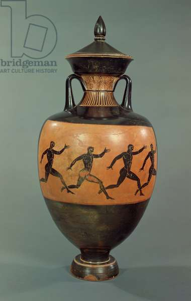 Attic black-figure Panathenaic amphora decorated with running men, 375-370 BC (ceramic)