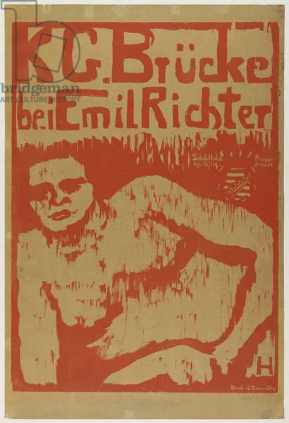 Die Brucke Exhibition Poster, 1908 (woodcut printed in red ink on green paper mounted on canvas)