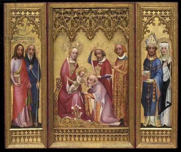 Adoration of the Magi, St. Severus and St. Walburga, St. James and St. Philip, c.1410 (oil & gilding on oak panel)