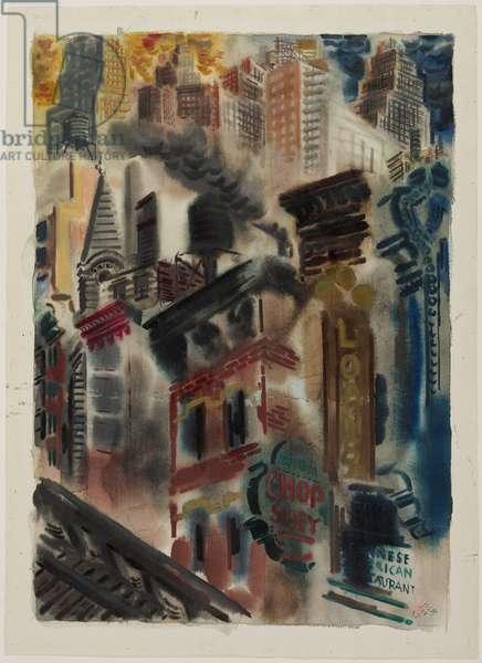New York, 1934 (w/c on cream wove paper)