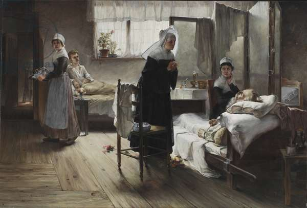 Evangeline discovering her Affianced in the Hospital, 1887-89 (oil on canvas)