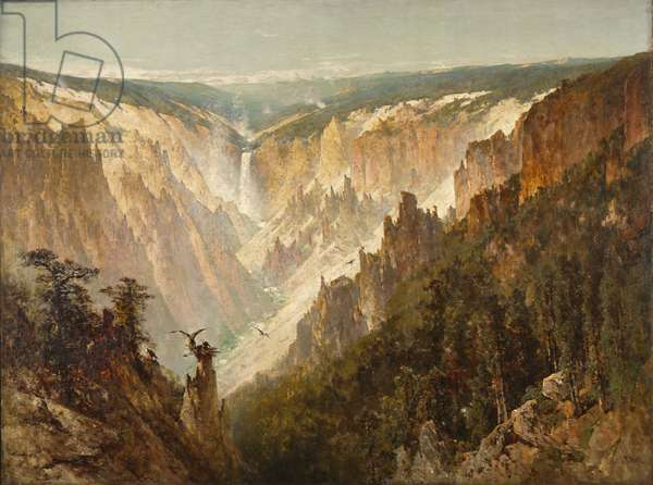 The Grand Canyon of the Yellowstone, c.1884 (oil on canvas)