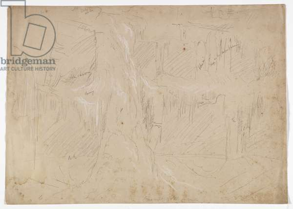 Kaaterskill Fall in Winter, 1843 (graphite pencil heightened with white chalk on paper)