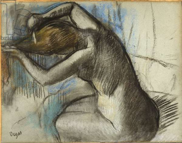 Seated Nude Woman Brushing her Hair, c.1885 (charcoal & pastel on blue paper)