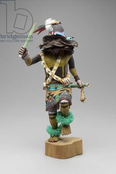 'Sipikne' Kachina (Zuni Warrior) 1978 (wood, paint & yarn)