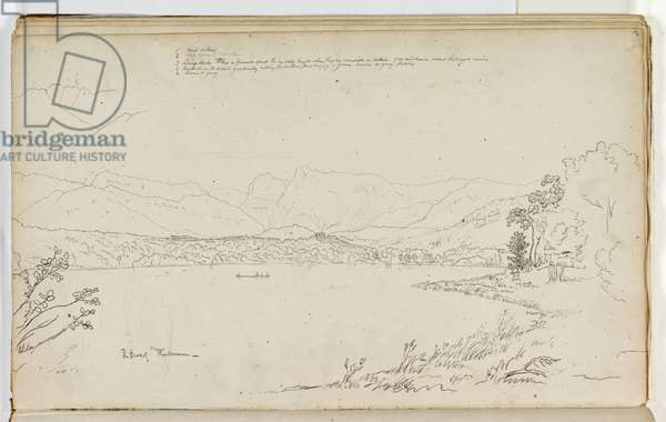The Head of Windermere, Lake District, England, 1829 (pen & ink over pencil on paper)