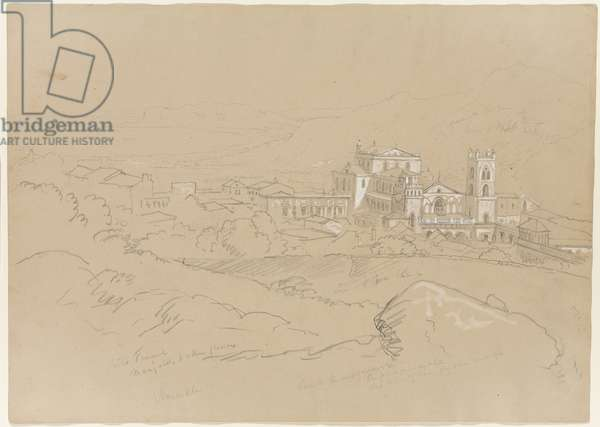 Monreale, Sicily, 1842 (pencil heightened with white chalk on paper)