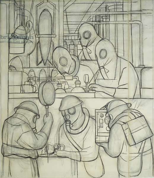 Manufacture of Poisonous Gas Bombs, cartoon for the North Wall Fresco, 1932 (charcoal on paper)