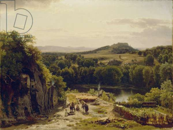 Landscape in the Harz Mountains, 1854 (oil on canvas)