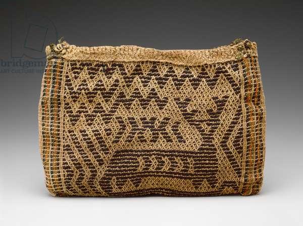 Bag, Meswaki, c.1860 (vegetable fibre, wool, yarn & buckskin tie)