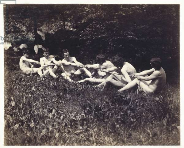 Male nudes in a seated tug-of-war, c.1883 (albumen print)