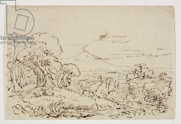Prosperine Gathering Flowers in the Vale of Enna, c.1846/47 (pen & ink over pencil on paper)