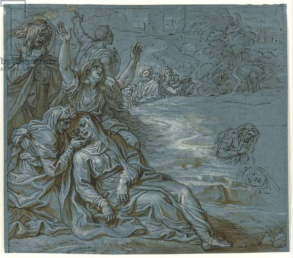 Lamentation, c.1680 (pen & ink with wash over pencil on paper)