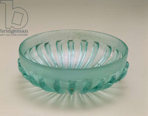 Ribbed moulded bowl, Roman, 1st century BC - 1st century AD (glass)