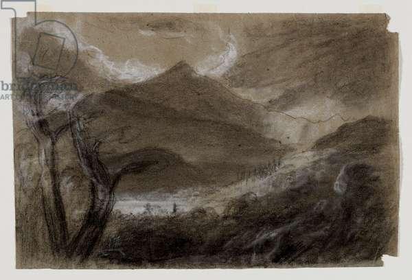 Schroon Mountain, Adirondacks, c.1837 (black & white chalk on grey wove paper)
