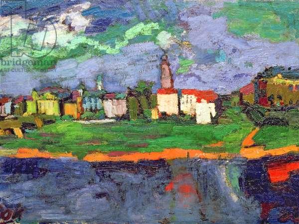 The Elbe Near Dresden, c.1921 (oil on canvas)