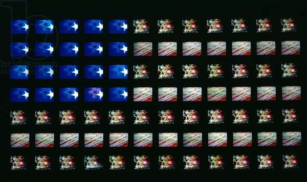 Video Flag X, 1985 (84 10-inch TV sets, videotapes and plexiglass)