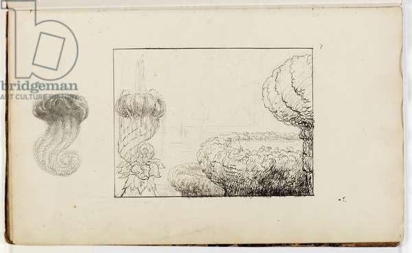 Untitled, Study for Titan's Goblet, 1837 (pen & ink over pencil on paper)