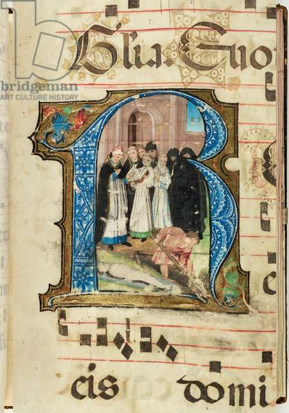 Burial scene, Gradual, f.86 (ink, tempera & gold leaf on parchment)