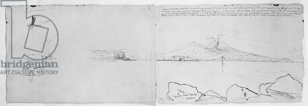 Panorama of the Bay of Naples, c.1832 (pen & ink over pencil on paper)