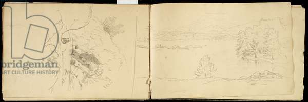 Hoosick or Saddle Mountain and Lake near Pittsfield, c.1832 (graphite pencil on off-white wove paper) (see also 3514873)