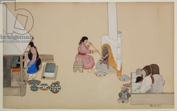 Women Weaving and Supervising Kiln, early 20th century (casein on paper)
