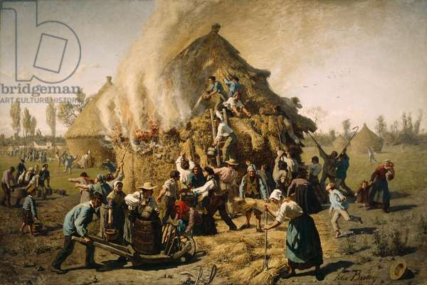 Fire in a Haystack, 1856 (oil on canvas)