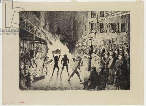 Election Night Bonfire, 1928 (litho)