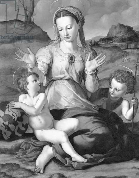 Madonna and Child with Saint John (oil on canvas) (b/w photo)