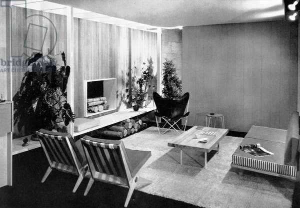 Living-dining room designed by Florence Knoll, page 77 from the catalogue for 'An Exhibition for Modern Living', 1949 (b/w photo)