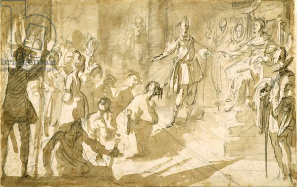 Admiral Inghirami presenting Turkish prisoners to King Ferdinand I of Tuscany, c.1615 (pen and ink with wash over chalk on paper)