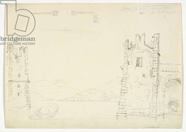 Antique Port of Arona, Lago Maggiore, 1842 (graphite pencil on wove paper)