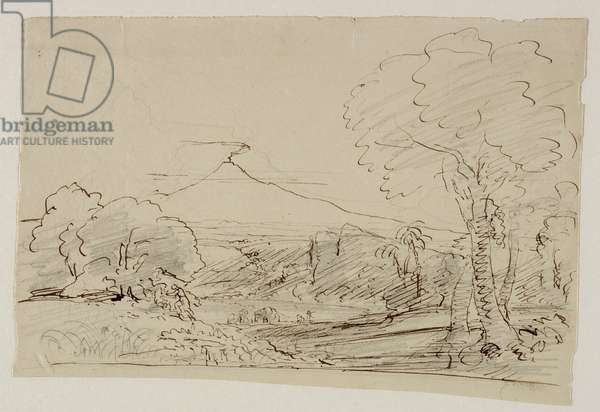 Volcano, Lake, Figure Hunting, 1846-47 (pen & ink with pencil on paper)