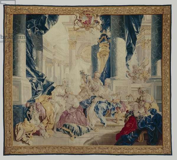 Psyche displaying her treasures to her sisters, 1744-46 (wool & silk)