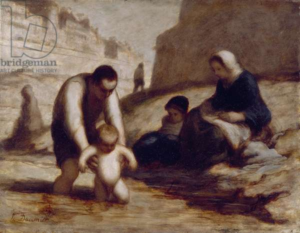 The First Bath (oil on board)