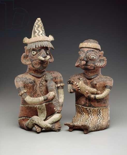 Male and female figure, 100 BC-400 AD (polychrome ceramic)