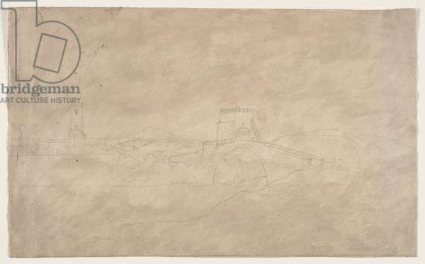 Fortified Bridge over River (pencil on paper)
