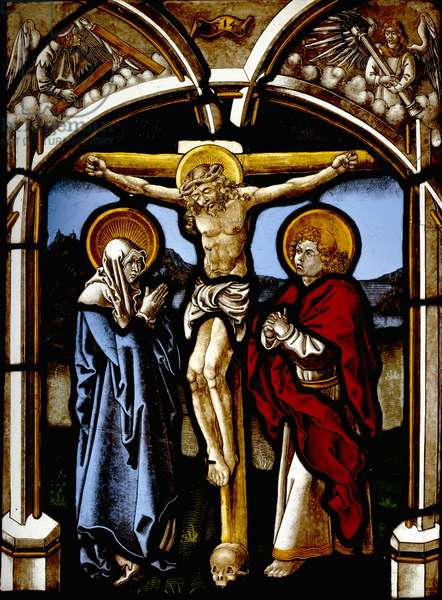 The Crucifixion with the Virgin, St. John and Angels (stained glass)