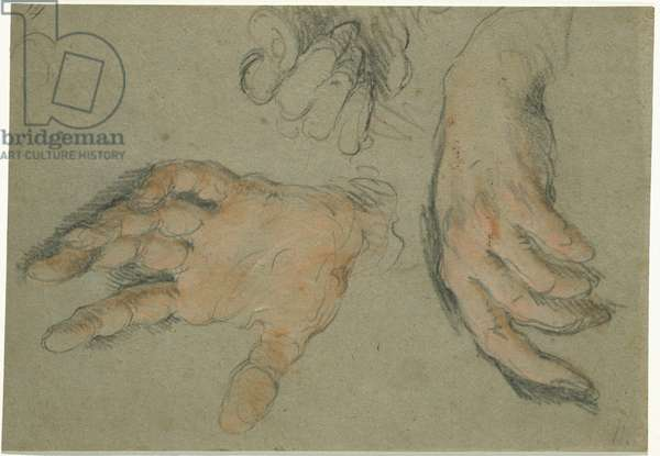 Study of Three Hands, 1625-30 (black & red chalk on paper)