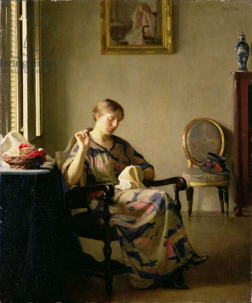 Woman Sewing, c.1913 (oil on canvas)