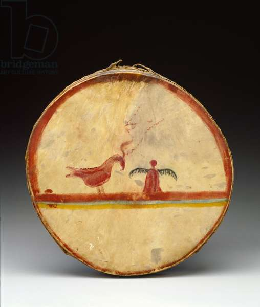 Drum, Chippewa Culture, c.1840 (wood, deer-hide & pigment)