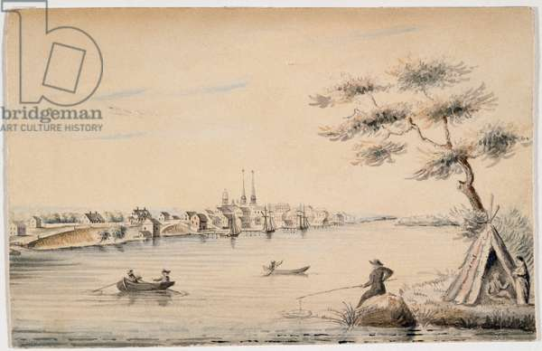 Detroit as seen from the Canadian Shore in 1821 (black ink & w/c over pencil on paper)