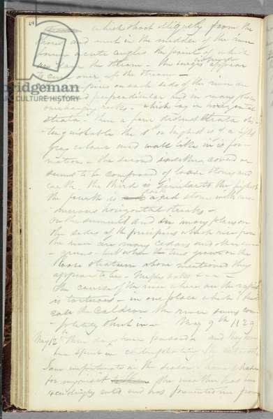 Artist's notations on rapids below Niagara Falls, 1829 (graphite pencil on paper)